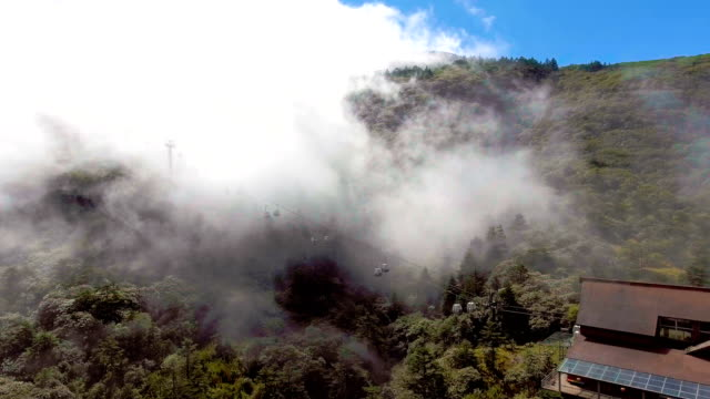 Cable Car Running on the Mountains with Fog Flowing, Jiaozi Mountaions, Yunnan Province, China