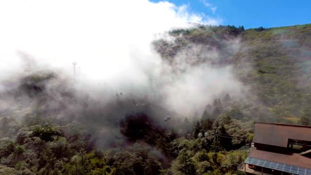 Linbana som körs på bergen med Fog flödar, Jiaozi berg, Yunnan-provinsen, Kina
