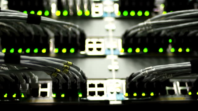 HUB Cable Network Close-up (Rack Focus)
