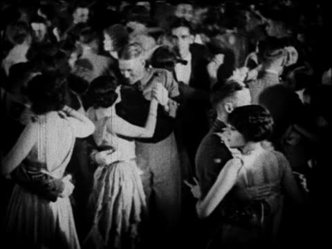 B/W 1920 cadets + dates dancing at graduation dance / West Point, NY / documentary