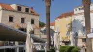 Cafes in Trg kralja Tomislava, Korcula Old Town, Korcula, Dalmatia, Croatia, Europe