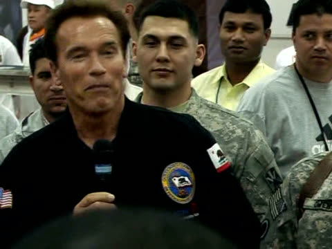 California Governor Arnold Schwarzenneger the charismatic former movie star known for his muscular toughtalking roles made a flying visit Monday to...