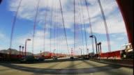 T/L, POV, FISH EYE, USA, California, San Francisco, Driving on Golden Gate Bridge
