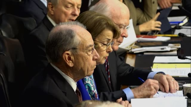 California Senator Dianne Feinstein reads from a prepared statement at the first oversight hearing with Attorney General Jeff Sessions leading the...
