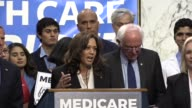 California Senator Kamala Harris tells media and supporters of universal health care coverage that it is a very significant moment of time for...