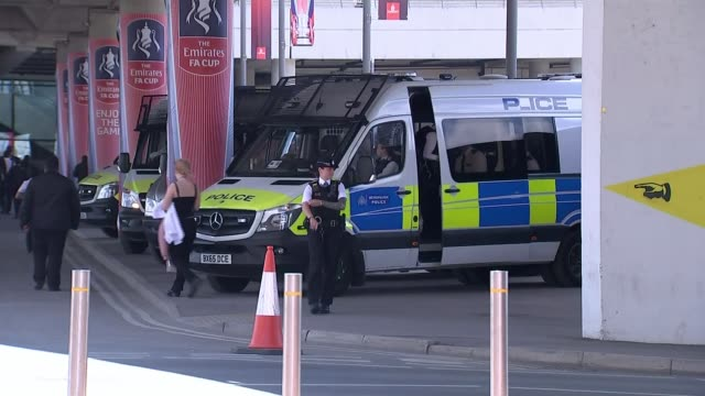 Call for football clubs to pay more of the cost of policing their grounds R270517013 / 2752017 Wembley Stadium EXT Police vehicles attending the FA...
