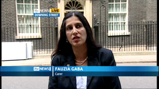 Calls for carers' allowance to be increased ENGLAND London GIR INT Fauzia Gaba LIVE 2WAY interview from Downing Street