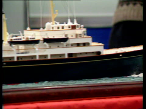 Calls for Royal Yacht Britannia to be replaced ENGLAND London Earls Court Boat Show INT GVs model of proposed new Royal Yacht GV Earl's Court Boat...