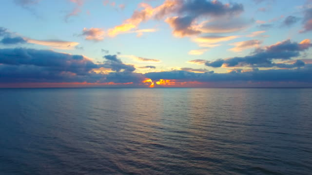 Calm sea in early morning, aerial video