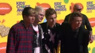 Calum Hood Michael Clifford Luke Hemmings and Ashton Irwin at Nickelodeon's 28th Annual Kids' Choice Awards at The Forum on March 28 2015 in...