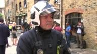 Camden Lock Market damaged by large fire Peter Wolfenden interview SOT CUTAWAY firefighters
