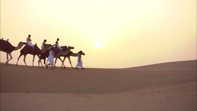 A camel caravan crosses a desert in Saudi Arabia.