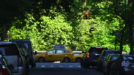 Camera captures the Central Park West traffic and people along rows of fresh green trees at Central Park New York.
