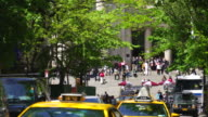 Camera captures visitors at the entrance of The Metropolitan Museum through the fresh green trees of street Manhattan New York. Taxis run through the street, which are surrounded by fresh green trees.