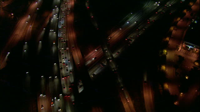 Camera circles over 110-405 freeway interchange