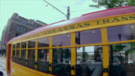 Camera follows downtown Little Rock trolley, Central Arkansas Transit