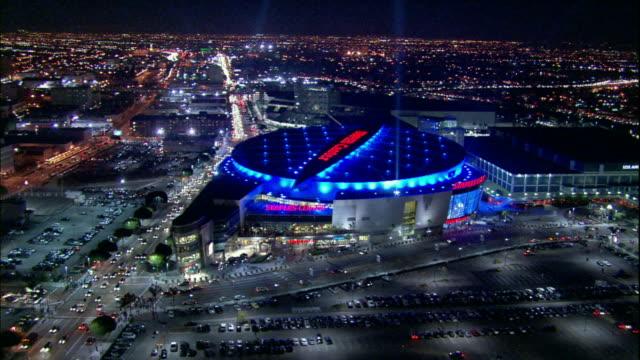 Camera glides southward over Staples Center then LA Convention Center