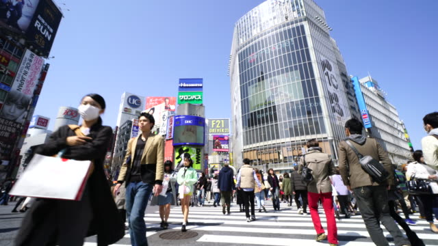Camera is walking through the Shibuya Intersection to go to Shibuya Center on Sunday afternoon.And Captures the cityscape and pedestrians, while crossing the intersection.