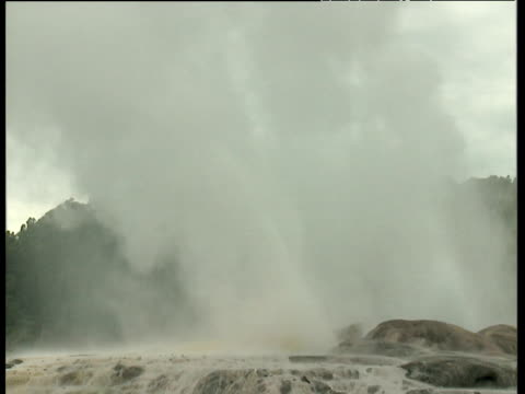Camera pans right to Geyser erupting spraying white water and grey steam high into the air; Rotorua