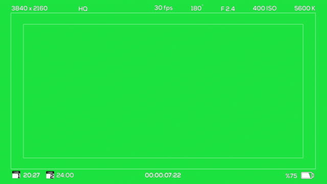 4K Camera Viewfinder Recording Chroma Green Digital Overlay