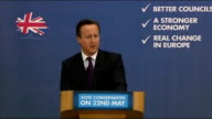 Cameron launches Conservative Party local election campaign Attacks Labour Party and UKIP / plan is working because it is based on the right values /...