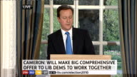 1430 1500 Cameron press conference SOT On our political system we agree with the Liberal Democrats that reform is urgently needed to help restore...