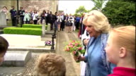 Camilla Duchess of Cornwall wearing powder blue visits Churchill's burial place and receives flowers The Duchess of Cornwall unveiled a new...