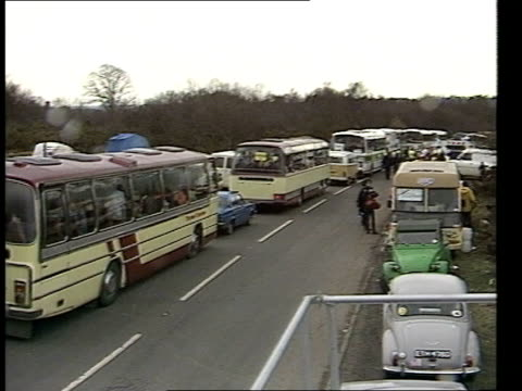 Campaign for Nuclear Disarmament Protest at Greenham Common ENGLAND Berkshire Greenham Common MS Coaches bringing supporters at standstill MS...