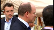 interview with Prince Albert II of Monaco MONACO Monte Carlo Port Hercules EXT Prince Albert II of Monaco walking along gangway onto boat and meeting...