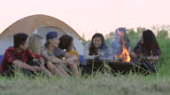 Campfire at Sunset with Friends