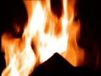 A campfire burns at night.