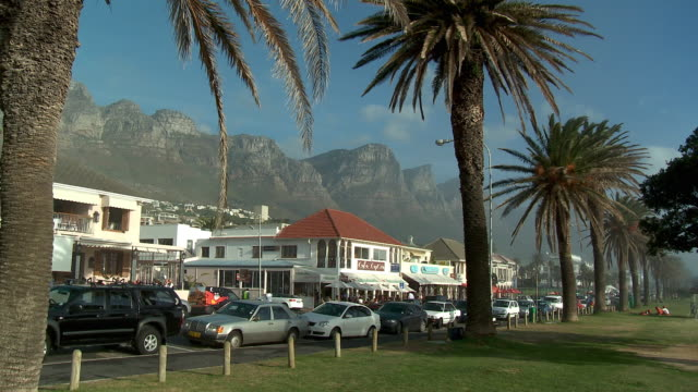 WS Camps Bay boulevard with Twelve Apostles mountain in background, Cape Town, Western Cape, South Africa