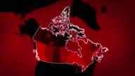 Canadian Karte mit den Flughäfen, der Straßen und der Eisenbahnen. Rot.