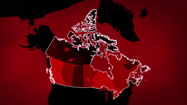 Canadian map with Airports, Roads and Railroads. Red.