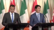Canadian Prime Minister Justin Trudeau and his Irish counterpart Leo Varadkar say they will work together to defeat terrorism and remain firm in...