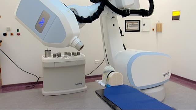 CyberKnife treatment ENGLAND London Royal Marsden Hospital INT GVs of Cyberknife cancer radiotherapy machine