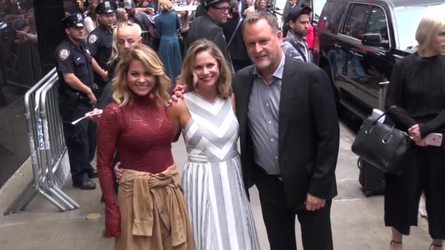 Candace CameronBure Andrea Barber Dave Coulier outside Good Morning America in New York in Celebrity Sightings in New York