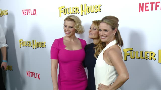 Candace CameronBure Jodie Sweetin and Andrea Barber at the Netflix's 'Fuller House' Premiere at Pacific Theaters at the Grove on February 16 2016 in...