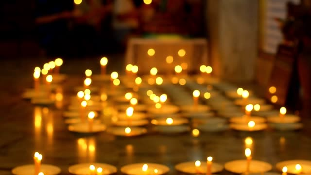 candle in indoor of temple
