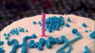 CU, ZO, Candle on birthday cake being blown