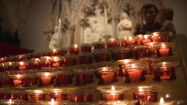 Candles burning during Midnight Mass at St Patrick's