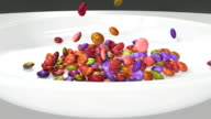 CU ZO Candy falling in  white bowl