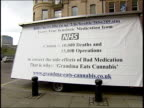 Cannabis grandmother given suspended jail sentence ENGLAND Newcastle EXT Patricia Tabram giving the victory sign Poster on back of van saying 'Every...