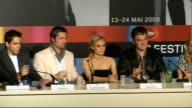 'Inglourious Barsterds' press conference FRANCE Cannes INT Quentin Tarantino on stage for press conference with members of 'Inglourious Barsterds' /...