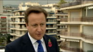 Cannes G20 Summit dominated by Eurozone crisis Cameron interview FRANCE Cannes EXT David Cameron MP interview SOT People at home worried about jobs...