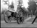 1913 WS B&W cannon salute with Civil War soldiers at cemetary