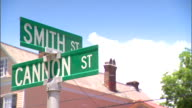 MS Cannon Smith Street intersection signs on top of pole house roof BG 1950s Little League AllStars segregation children discrimination...