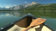 Canoe and paddle on mountain lake