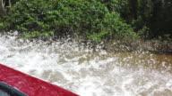 Canoe salling on the Cuyabeno river.