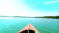 POV Canoeing on lake